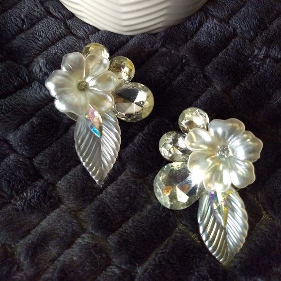 big silver floral leaf sparkly statement …